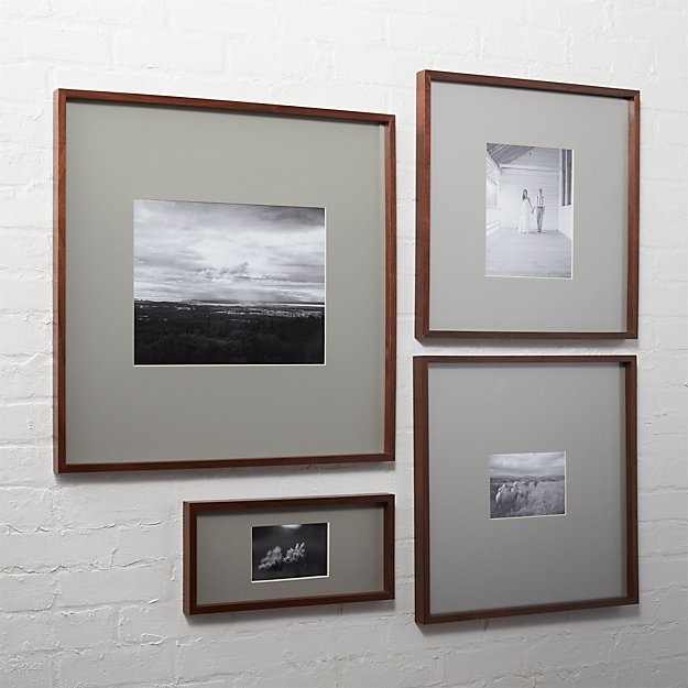Gallery walnut picture frames with grey mats cb2 for 11x14 table top frame
