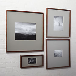 gallery walnut picture frames with grey mats