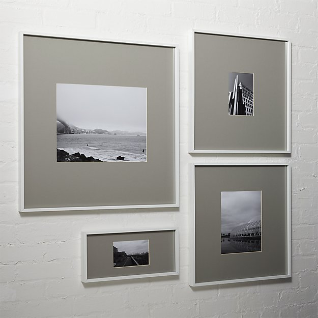 Gallery white picture frames with grey mats cb2