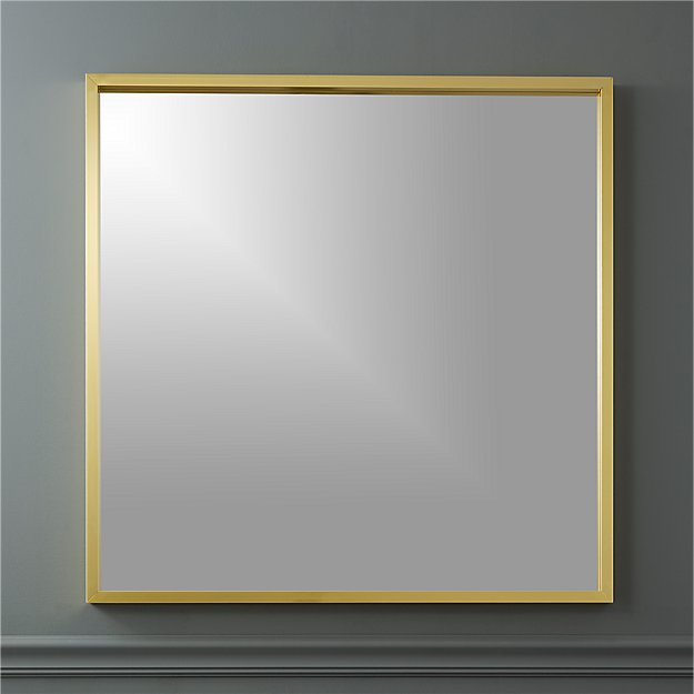 Gallery Brass 33 Square Wall Mirror Cb2