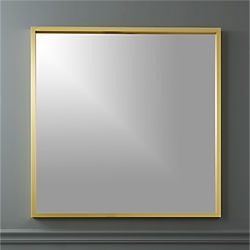 "gallery brass 33"" square wall mirror"