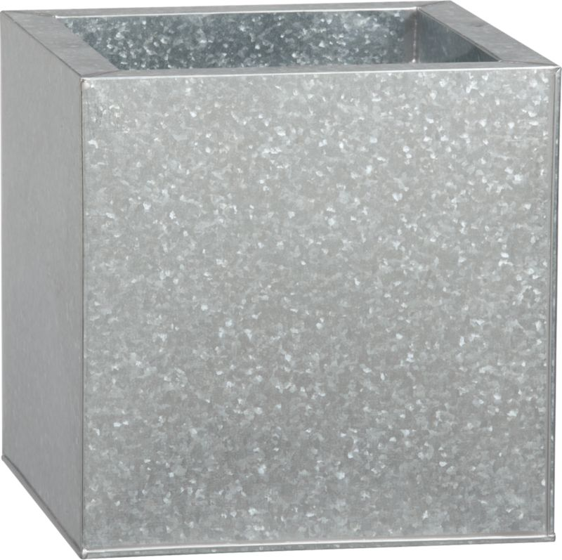 medium galvanized square planter