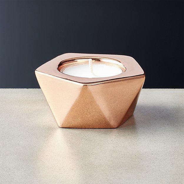 gami rose gold tea light candle holder cb2. Black Bedroom Furniture Sets. Home Design Ideas