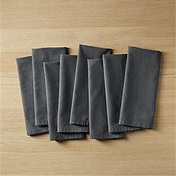 set of 8 garment washed graphite napkins