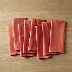 set of 8 garment washed salmon napkins