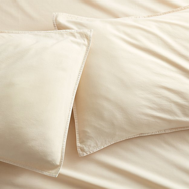 set of 2 garment washed ivory standard organic cotton pillowcases