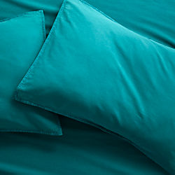 set of 2 garment washed teal standard pillowcases