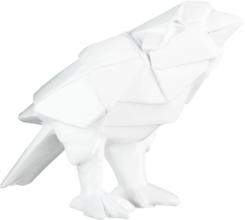 """<span class=""""copyHeader"""">chirp chirp.</span> Origami-esque avian perches in white polyresin. Form a flock with zaza bird small.<br /><br /><NEWTAG/><ul><li>White polyresin</li><li>Wipe with clean cloth</li></ul>"""