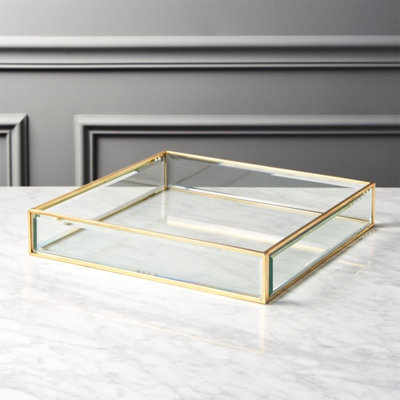 Cb2 Darbuka Brass Coffee Table: Small Brass And Glass Tray + Reviews