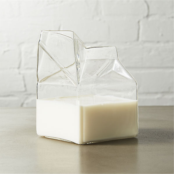 GlassMilkCartonCreamer10ozSHF16
