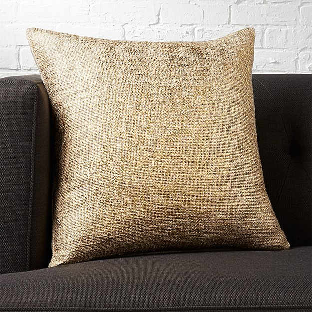 "18"" glitterati gold pillow with feather-down insert"