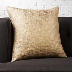 "18"" glitterati gold pillow with down-alternative pillow"