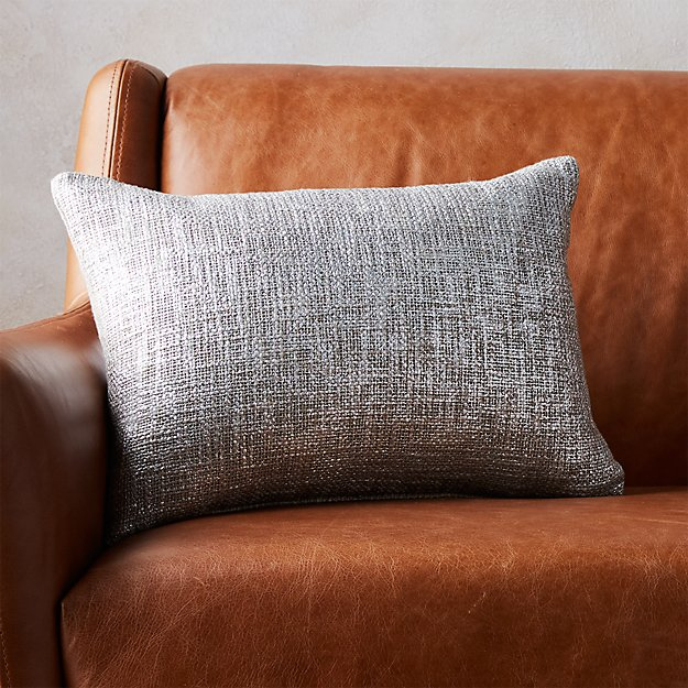 """18""""x12"""" glitterati silver pillow with feather-down insert"""