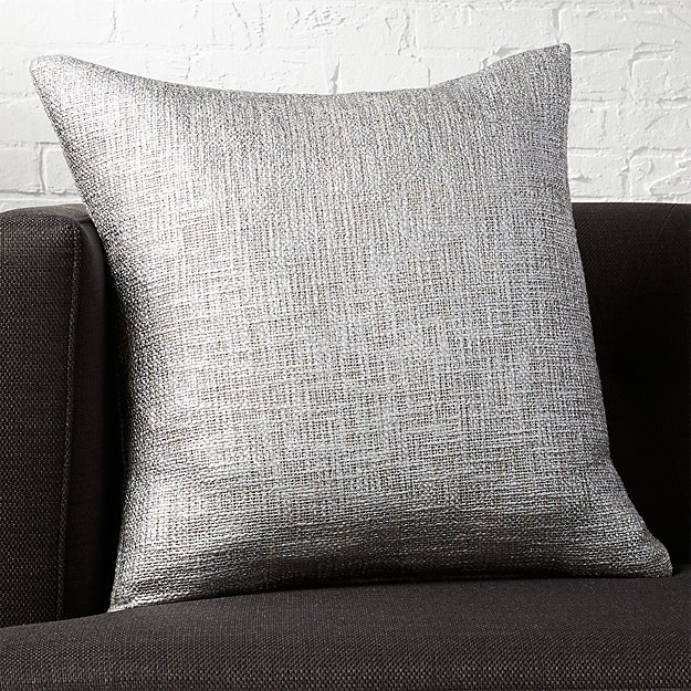 "20"" glitterati silver pillow with feather-down insert"
