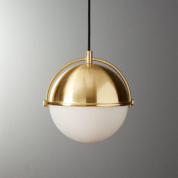 Globe small brass pendant light cb2 for Brass kitchen light fixtures
