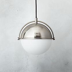Globe Small Brushed Nickel Pendant Light