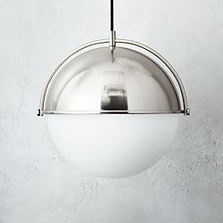 Globe Large Brushed Nickel Pendant Light.