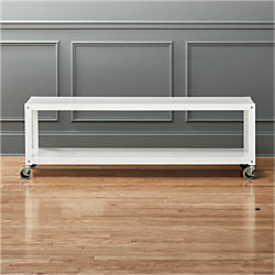 go-cart white rolling tv stand/coffee table