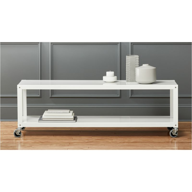 gocart white rolling tv standcoffee table CB2