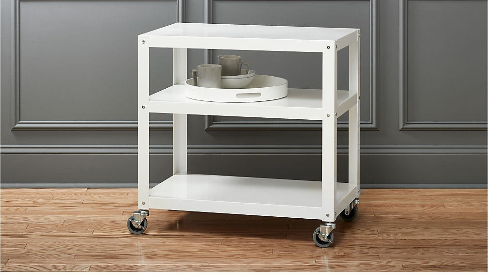 go-cart white kitchen rolling cart in office furniture + Reviews | CB2