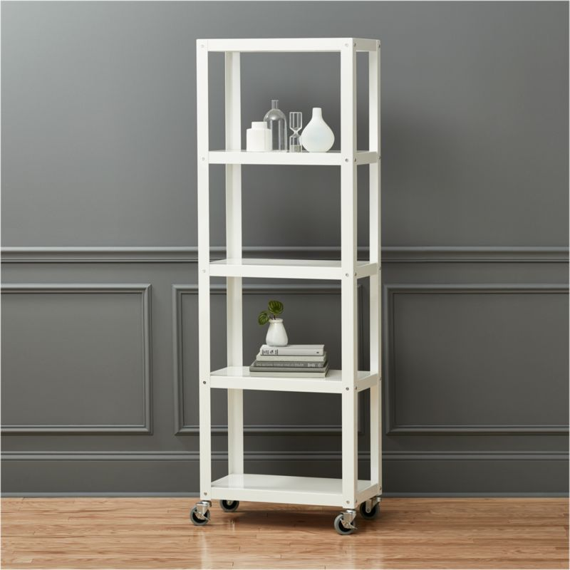 Exceptional Go Cart White Five Shelf Rolling Bookcase + Reviews | CB2