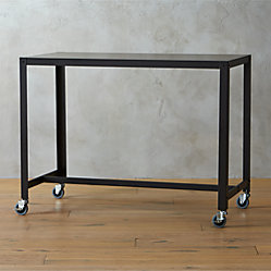 Go Cart Carbon Rolling Console Table Cb2