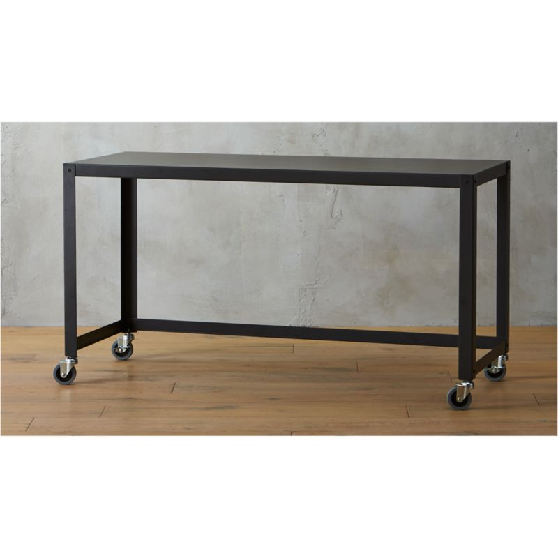 gocart black console table on wheels CB2