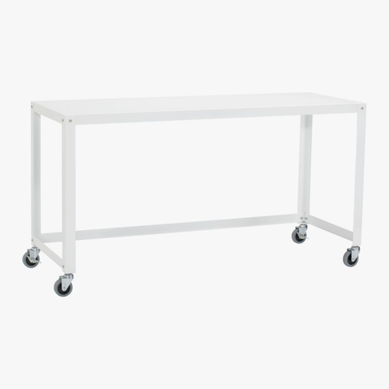 gocart white console table on wheels CB2