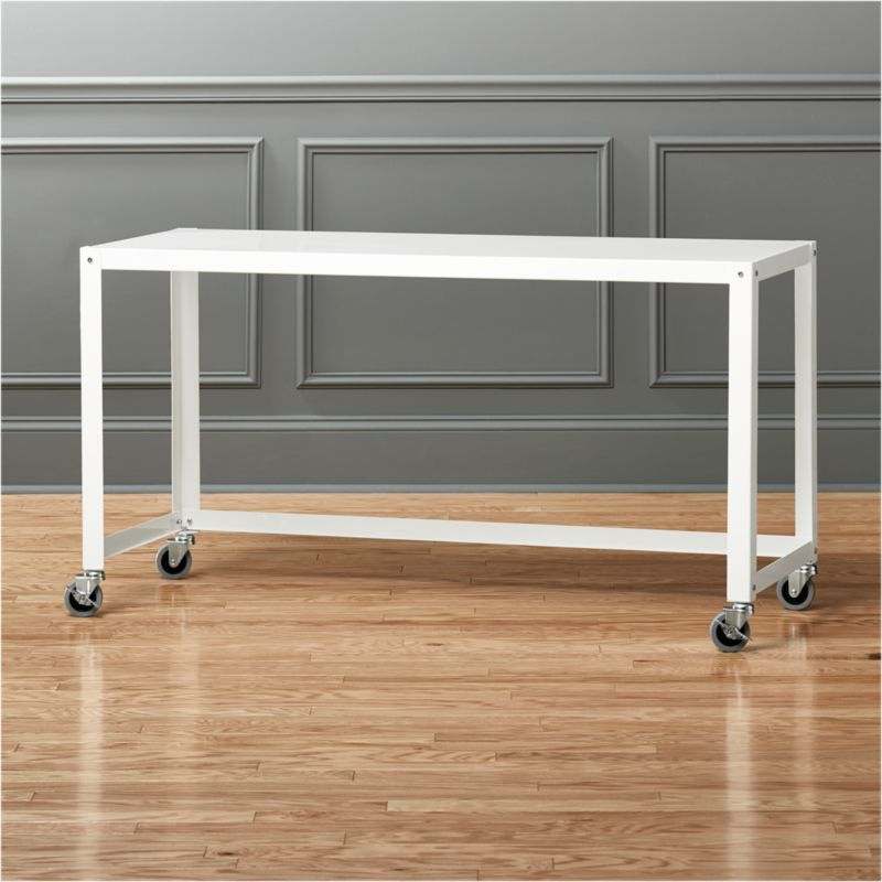 Go Cart White Rolling Console Table | CB2