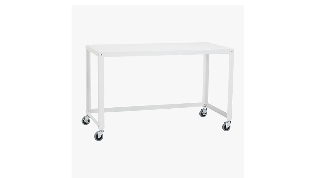 go cart white desk on wheels cb2. Black Bedroom Furniture Sets. Home Design Ideas