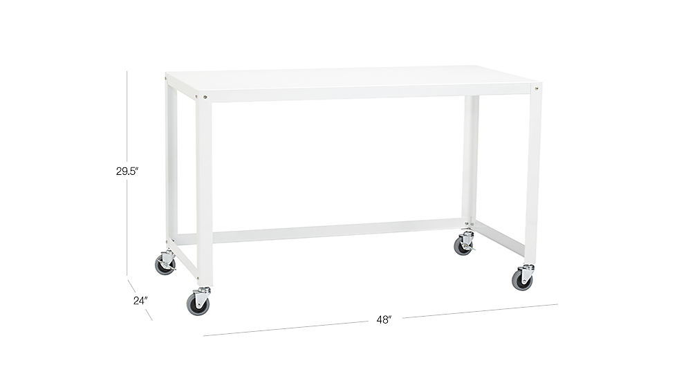 Go Cart White Rolling Desk Cb2