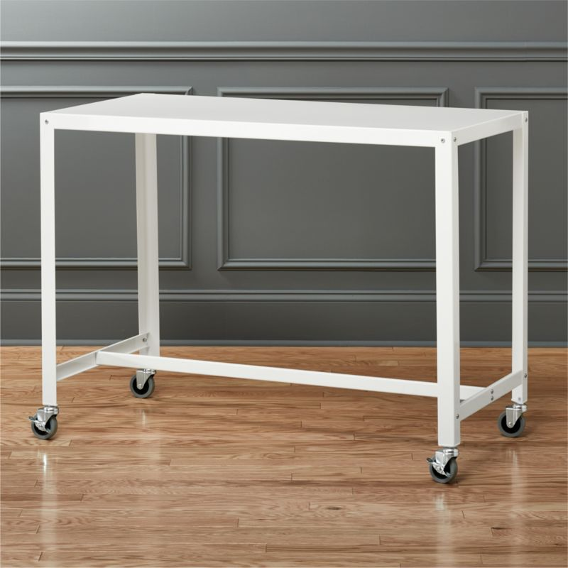 White Iron Table Part - 39: Go-cart Rolling White Counter Table | CB2