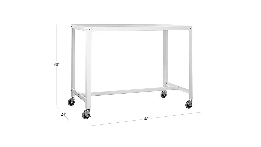 Go Cart Rolling White Counter Table Cb2