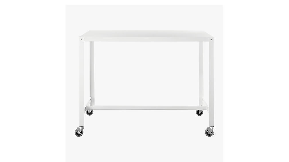 Go Cart White Rolling Counter Table Stand Up Desk Cb2