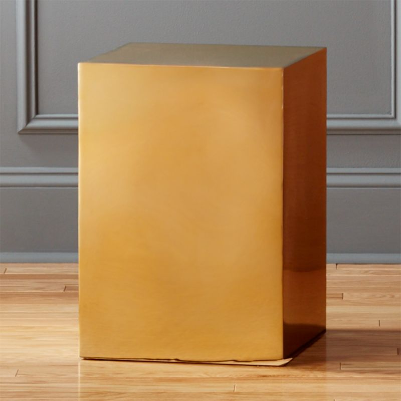 Gold Cube Side Table Cb2