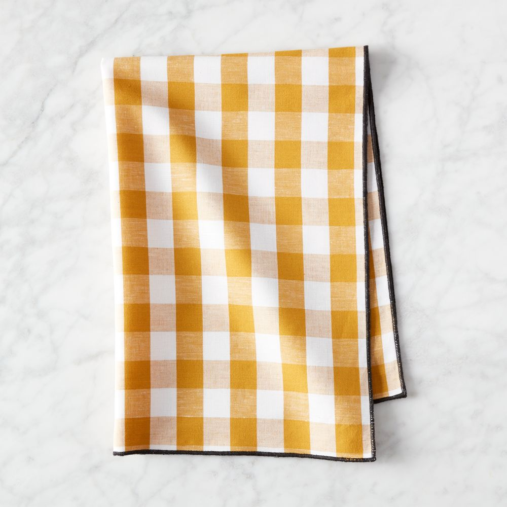 Online Designer Dining Room Golden Yellow Gingham Dish Towel
