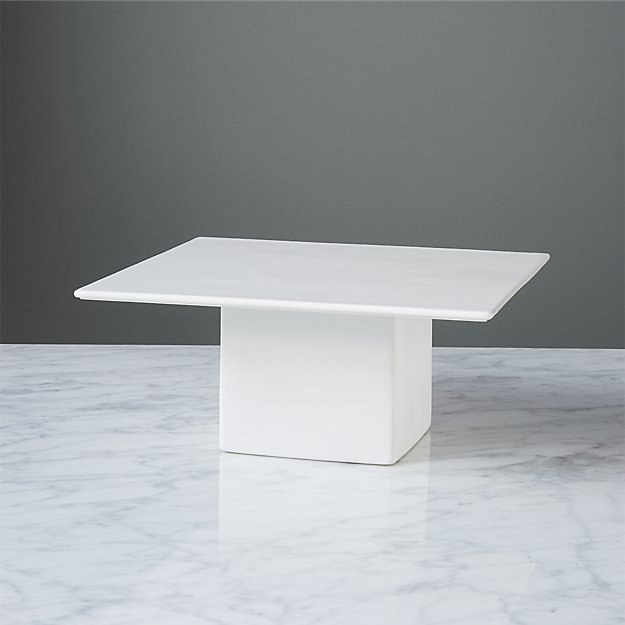 White Square Cake Stand CB2