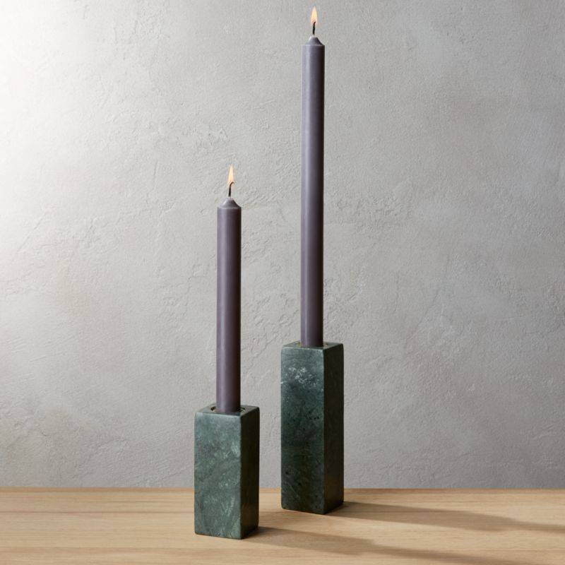 Green Marble Taper Candle Holders Cb2