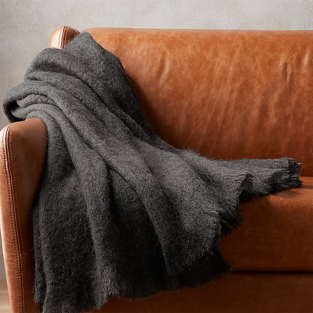 mohair grey throw