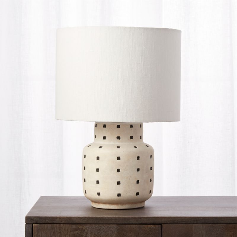 Grid Black And White Polka Dot Table Lamp In Table Lamps