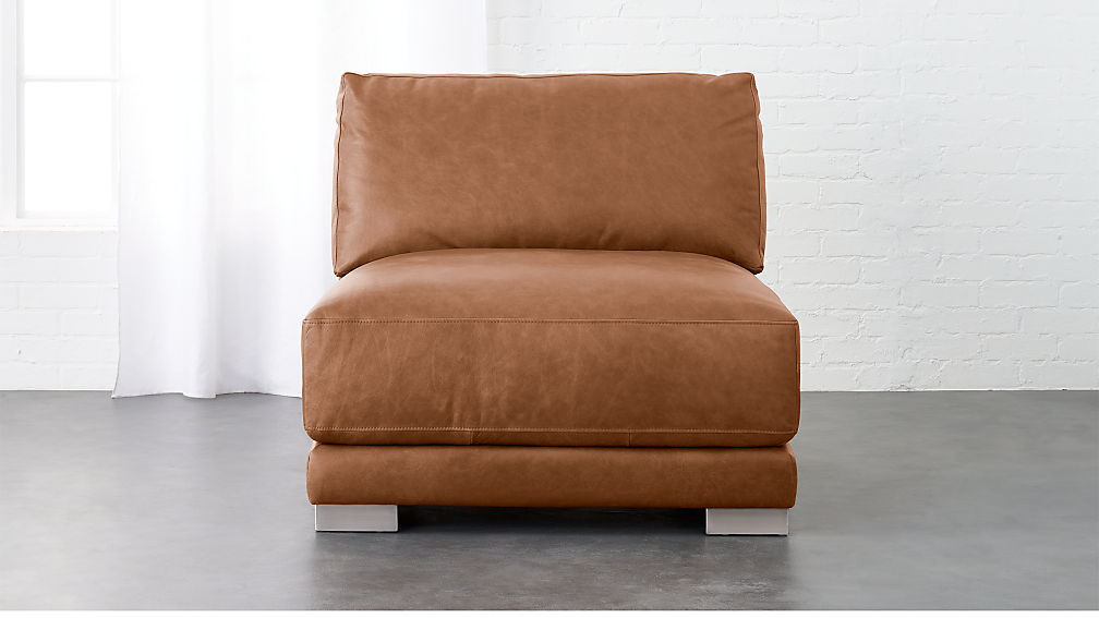 gybson brown leather armless chair