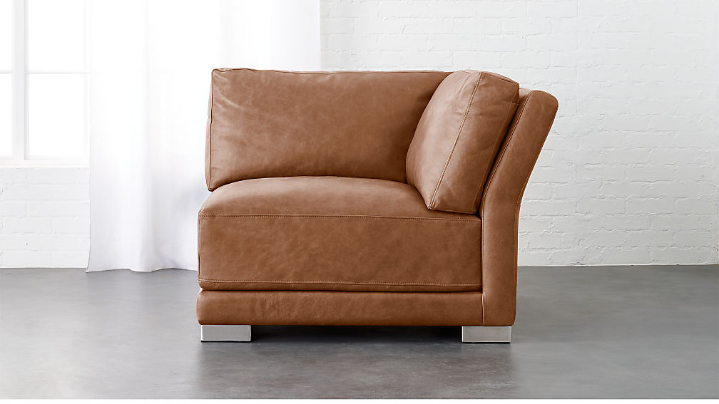 Gybson Cognac Leather Corner Chair ...