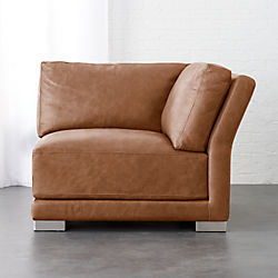 gybson brown leather corner chair