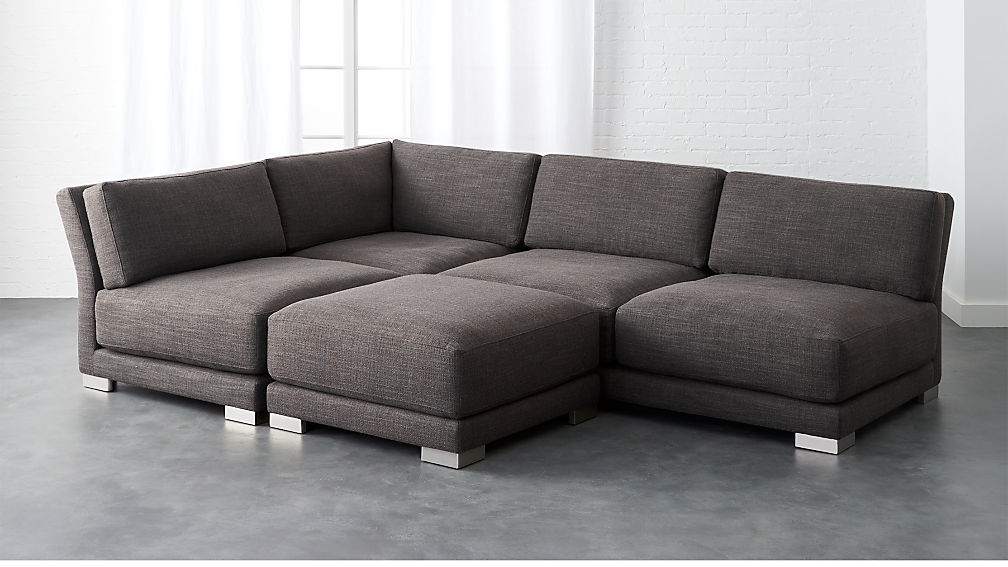 Gybson Earth Grey 4 Piece Sofa Cb2