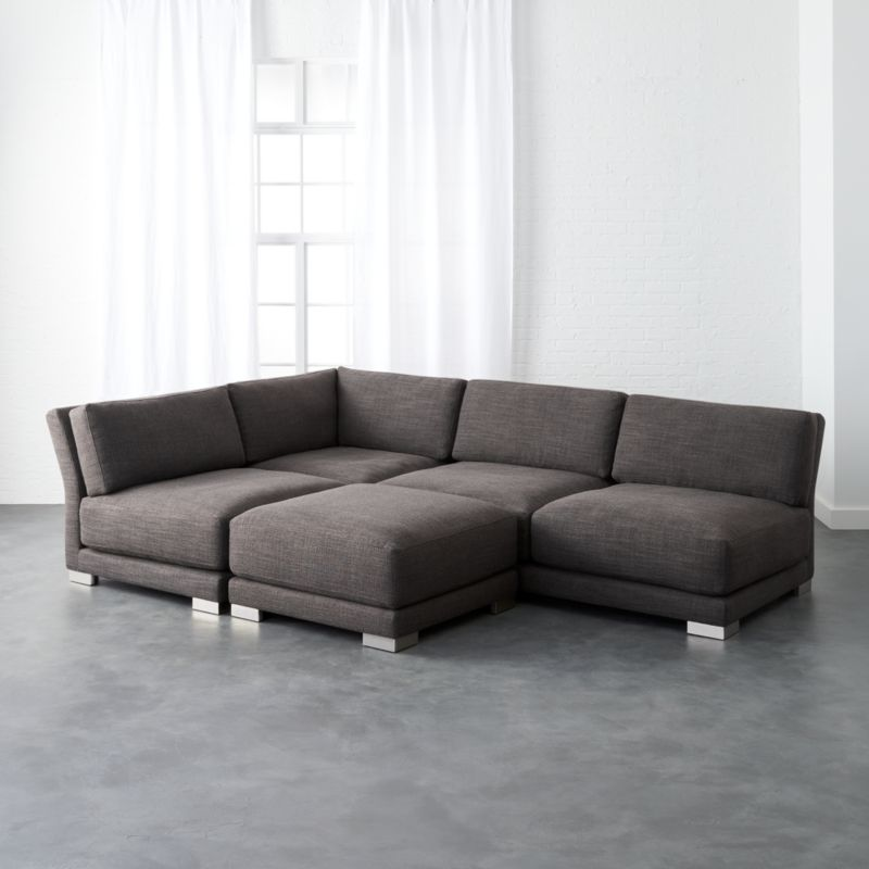 Gybson Earth Grey 4 Piece Sofa | CB2