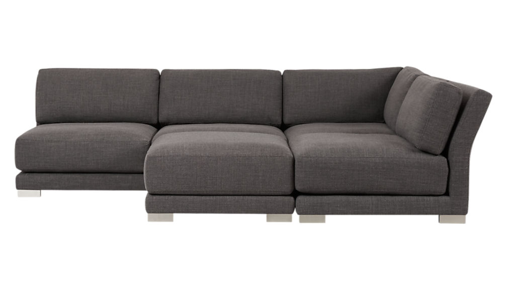 Gybson 4 Piece Earth Grey Sectional Sofa Alpha Earth Cb2