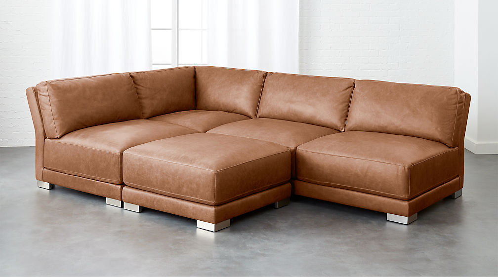 gybson 4-piece brown leather sectional sofa ...