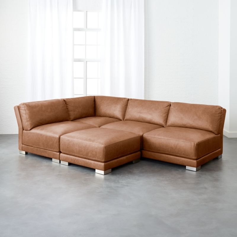 Gentil Gybson 4 Piece Cognac Leather Sectional Sofa