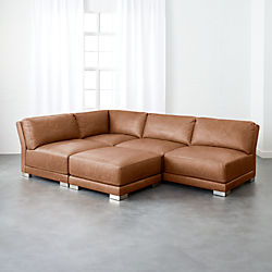 Gybson 4 Piece Brown Leather Sectional Sofa