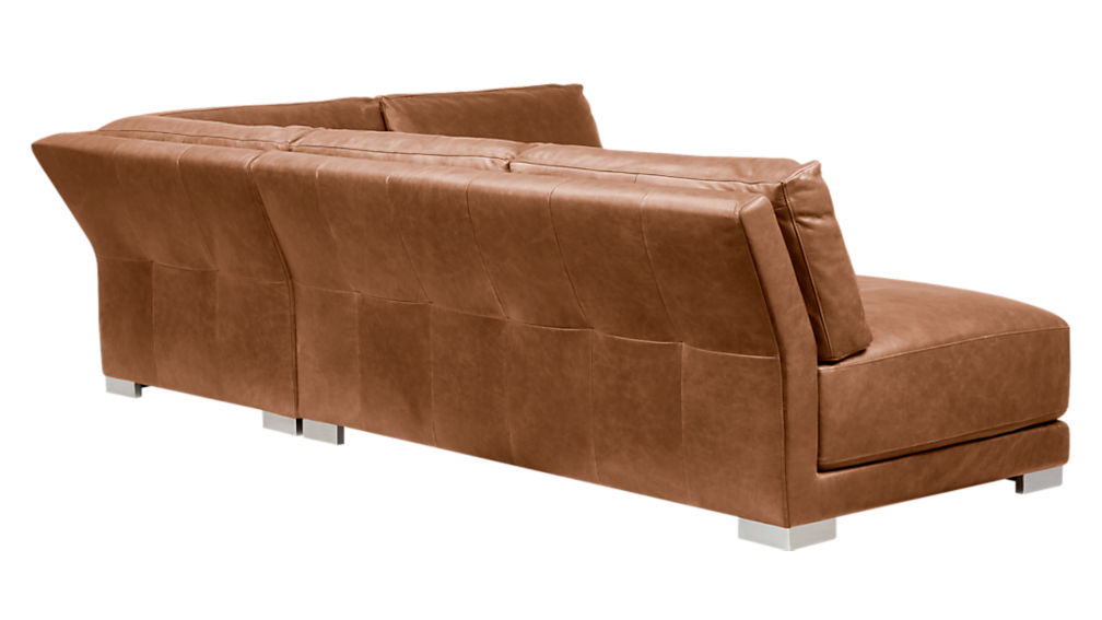 gybson 4-piece brown leather sectional sofa